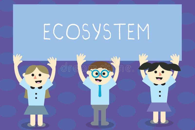 Escritura de ecosistema de la demostración de la nota Foto del negocio que muestra a la comunidad biológica de organismos y de es libre illustration