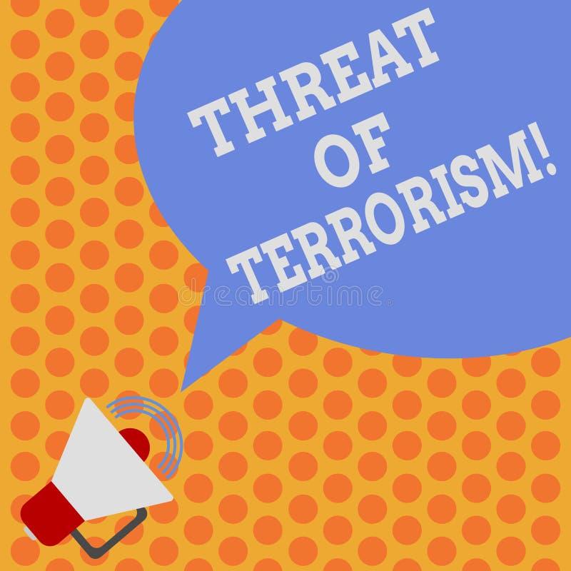 Escritura de la amenaza de la demostración de la nota del terrorismo Foto del negocio que muestra violencia y la intimidación ile stock de ilustración