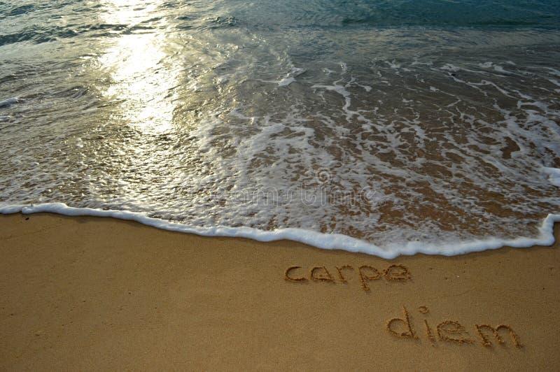 Escritura de la arena 'carpe diem' fotografía de archivo libre de regalías