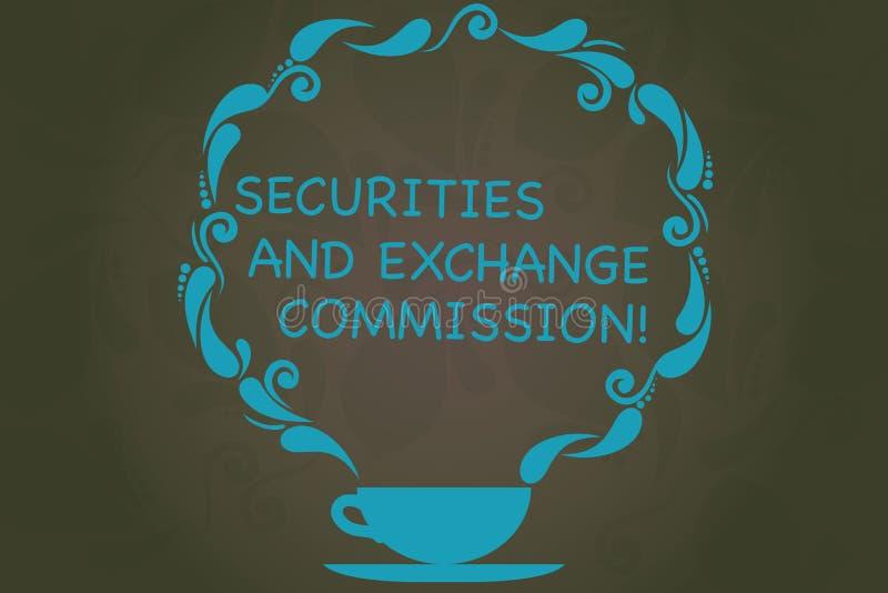Escritura de la Comisión de Valores y Bolsa de la demostración de la nota Seguridad de exhibición de la foto del negocio que inte libre illustration