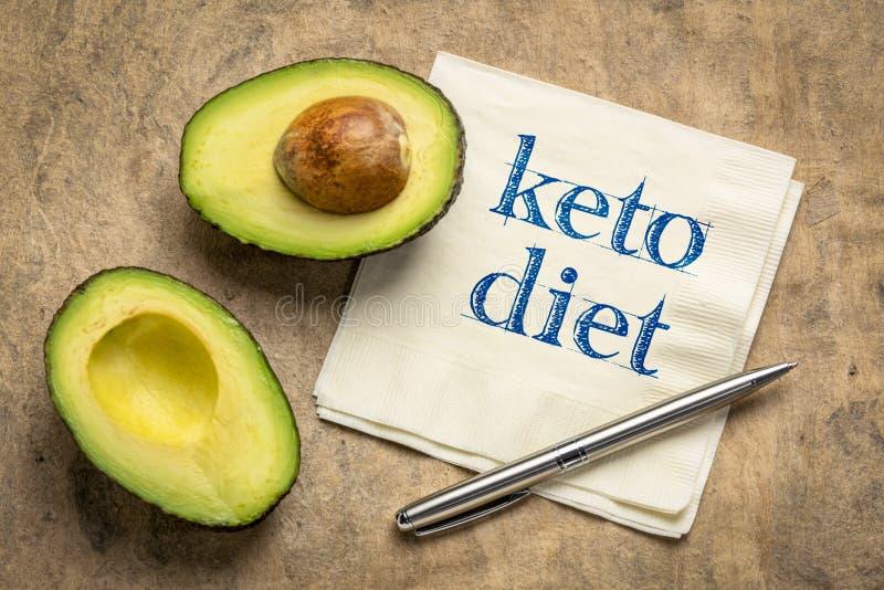 Escritura de la dieta del Keto en servilleta fotografía de archivo libre de regalías