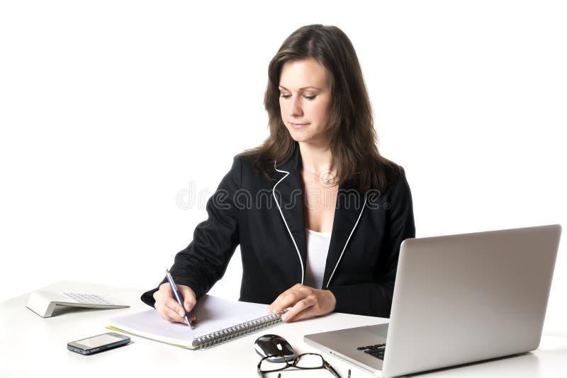 Escritura de la empresaria algo imagen de archivo