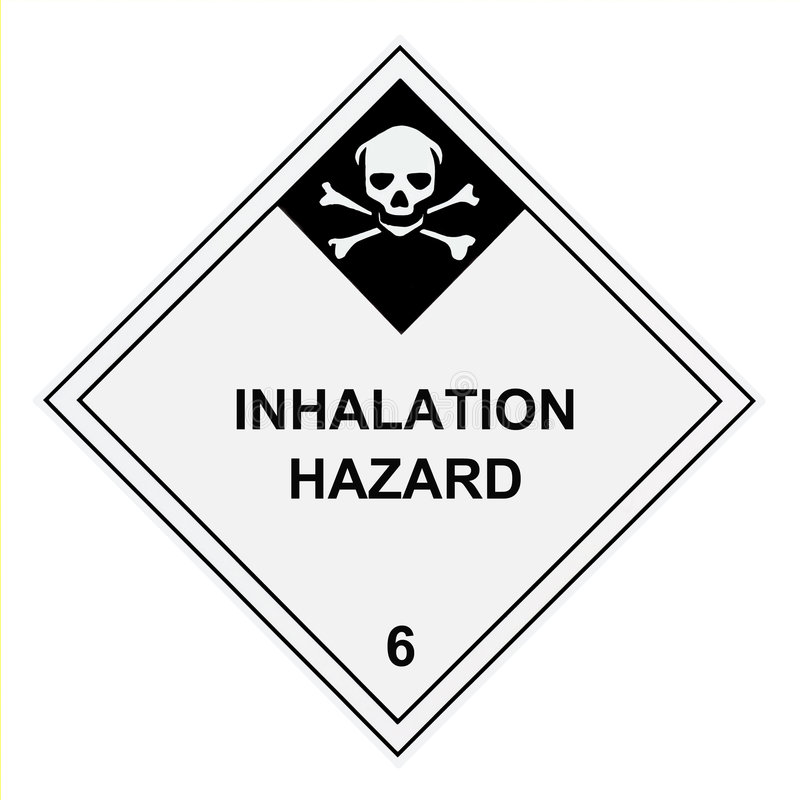 Escritura de la etiqueta amonestadora del peligro de la inhalación stock de ilustración