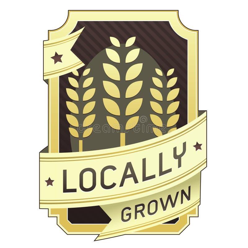 Escritura de la etiqueta cultivada localmente del alimento ilustración del vector