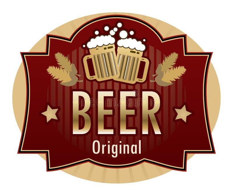 Escritura de la etiqueta de la cerveza stock de ilustración