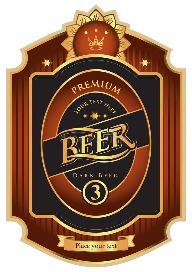 Escritura de la etiqueta de la cerveza ilustración del vector