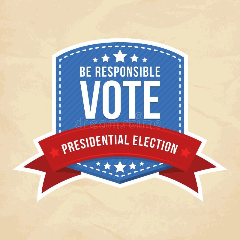 Escritura de la etiqueta de la elección presidencial stock de ilustración