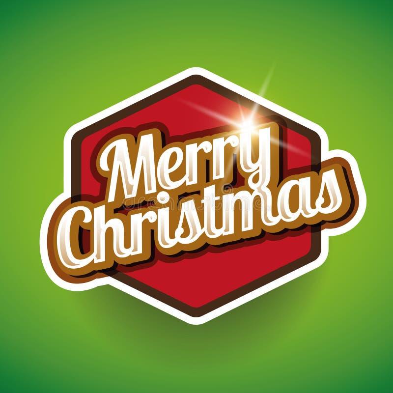Escritura de la etiqueta de la Feliz Navidad ilustración del vector