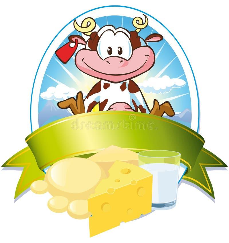 Escritura de la etiqueta de la leche con la vaca libre illustration