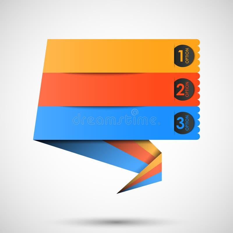Escritura de la etiqueta de Origami (opciones) para su texto ilustración del vector