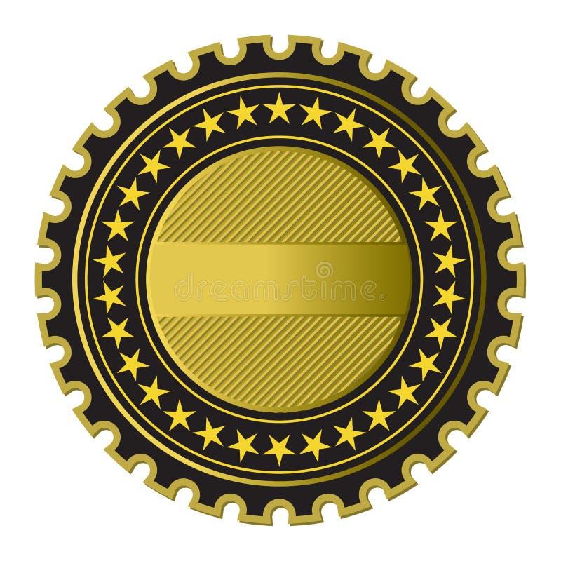 Escritura de la etiqueta de oro stock de ilustración
