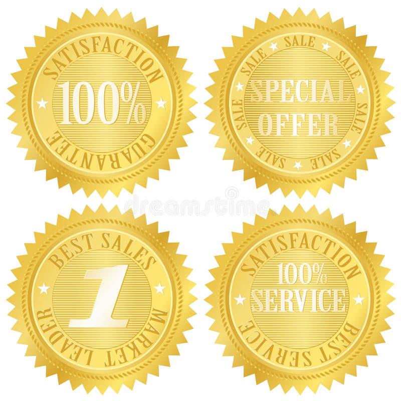 Escritura de la etiqueta de oro de la garantía stock de ilustración