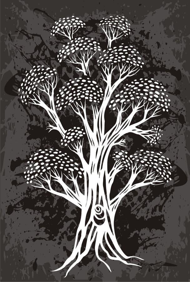 Escritura de la etiqueta del árbol stock de ilustración