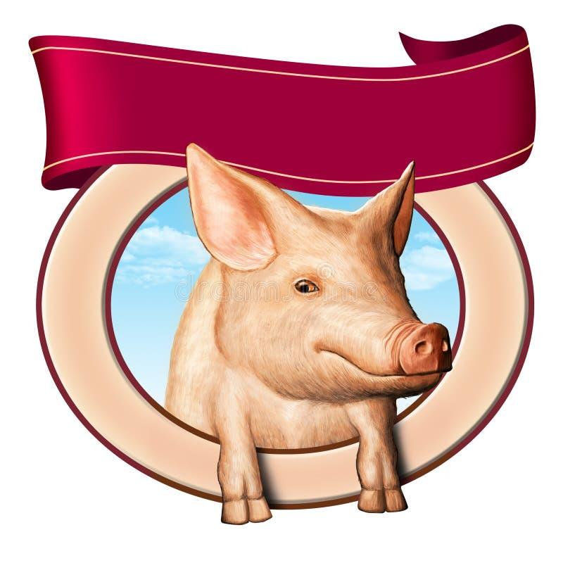 Escritura de la etiqueta del cerdo stock de ilustración