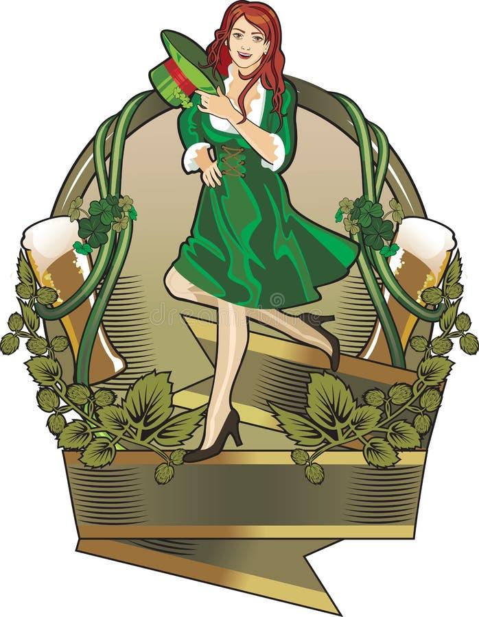 Escritura de la etiqueta del día del St. Patrick ilustración del vector