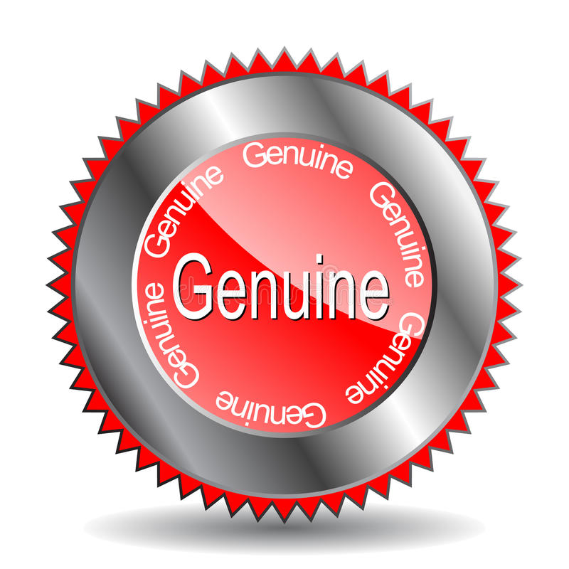 escritura de la etiqueta del genuineâ del vector 'para la promoción stock de ilustración