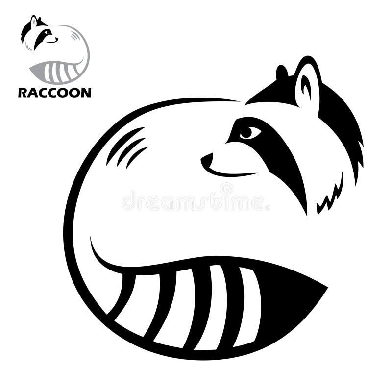 Escritura de la etiqueta del mapache ilustración del vector