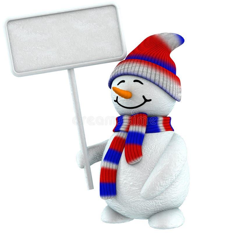 escritura de la etiqueta del muñeco de nieve 3d ilustración del vector