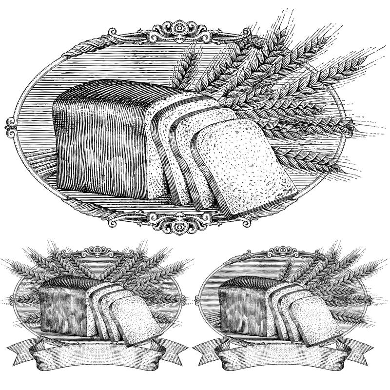 Escritura de la etiqueta del pan y del trigo del estilo del grabar en madera ilustración del vector