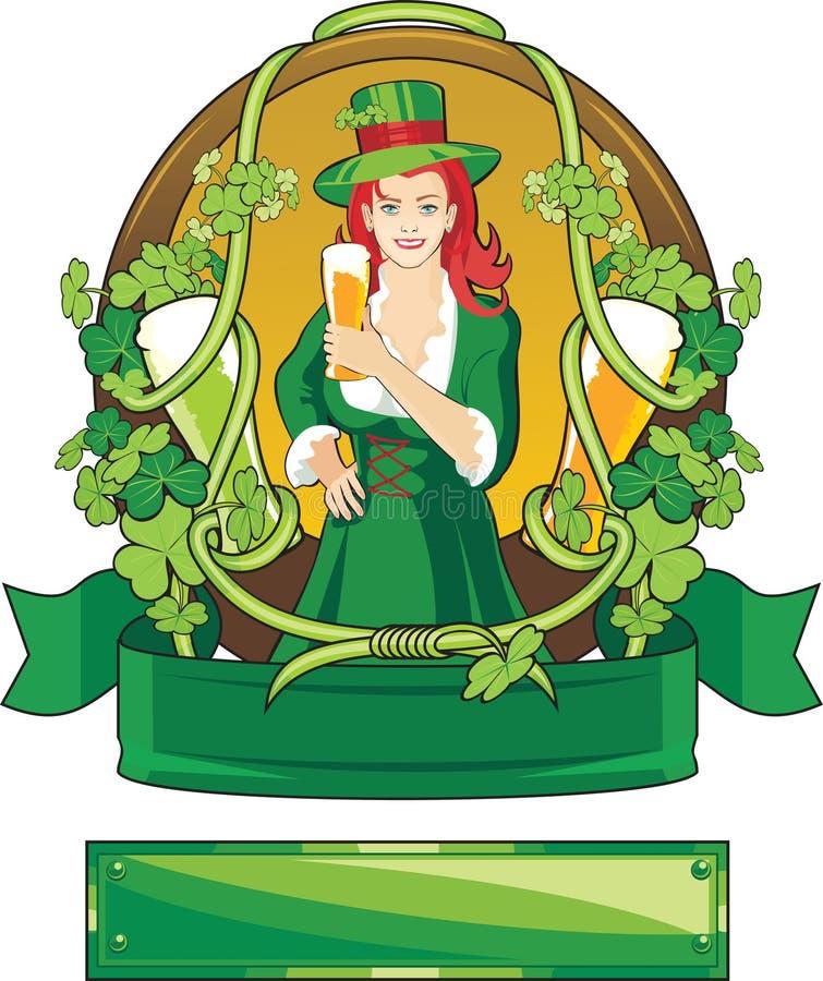 Escritura de la etiqueta del St. Patrick ilustración del vector