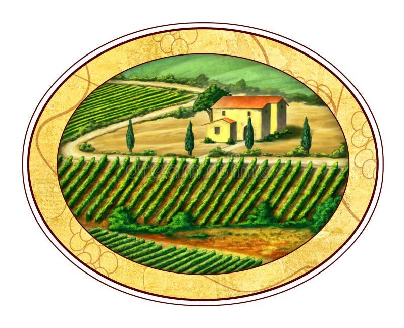 Escritura de la etiqueta del vino ilustración del vector