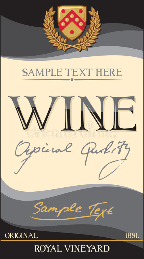 Escritura de la etiqueta del vino del vector ilustración del vector