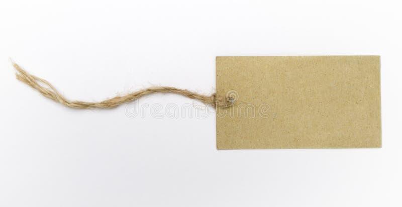 Escritura de la etiqueta en blanco con la cadena fotos de archivo