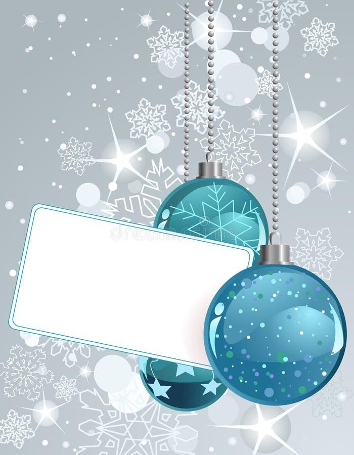 Escritura de la etiqueta en blanco con las bolas de la Navidad stock de ilustración