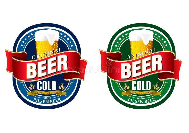 Escritura de la etiqueta genérica de la cerveza stock de ilustración