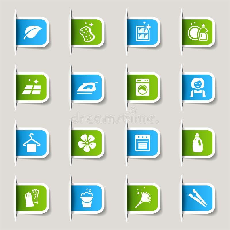 Escritura de la etiqueta - iconos de la limpieza stock de ilustración