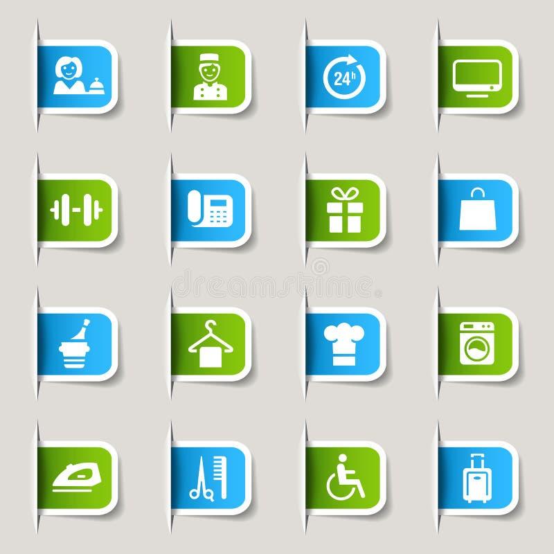 Escritura de la etiqueta - iconos del hotel stock de ilustración