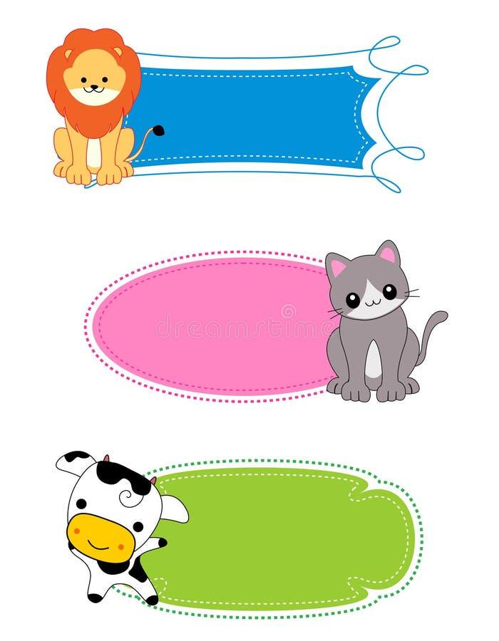 Escritura de la etiqueta/marco animales ilustración del vector