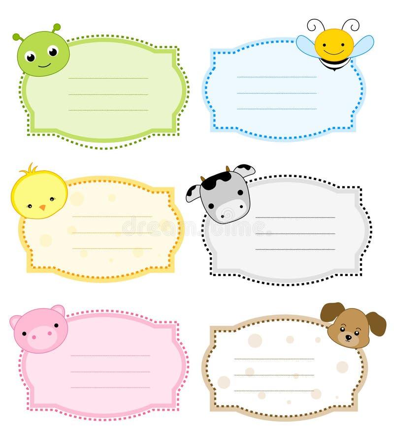 Escritura de la etiqueta/marco animales stock de ilustración
