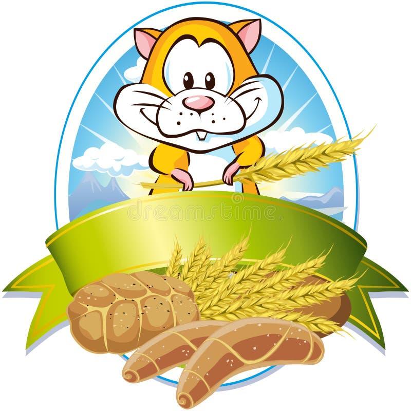 Escritura de la etiqueta natural del cereal ilustración del vector