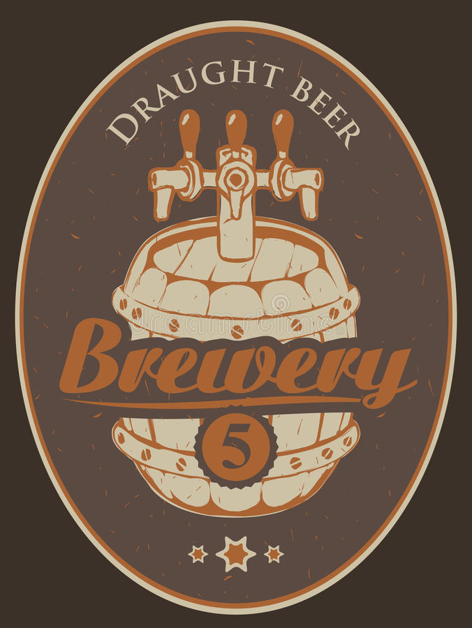 Escritura de la etiqueta para la cerveza stock de ilustración