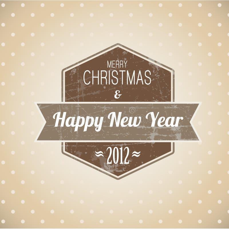 Escritura de la etiqueta retra de la Navidad de la vendimia de Brown stock de ilustración