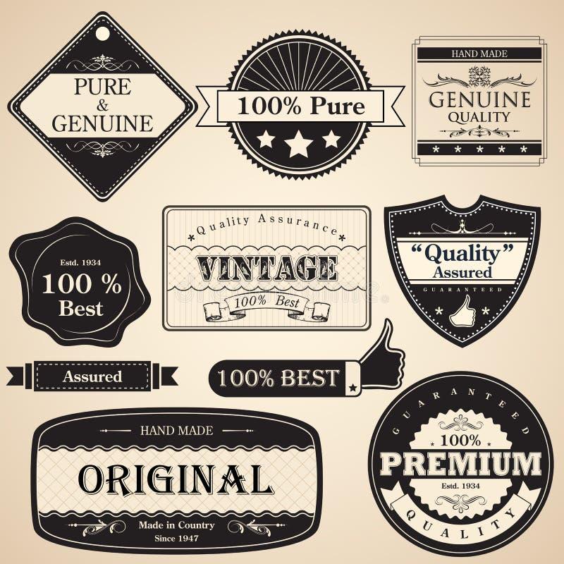 Escritura de la etiqueta superior de la calidad de la vendimia ilustración del vector