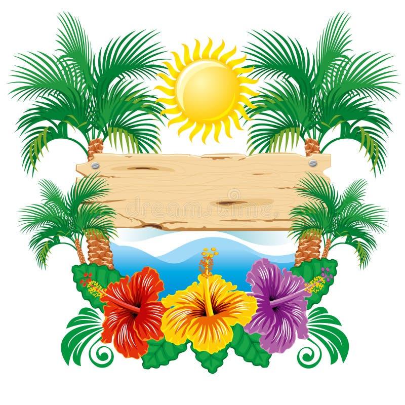 Escritura de la etiqueta tropical libre illustration
