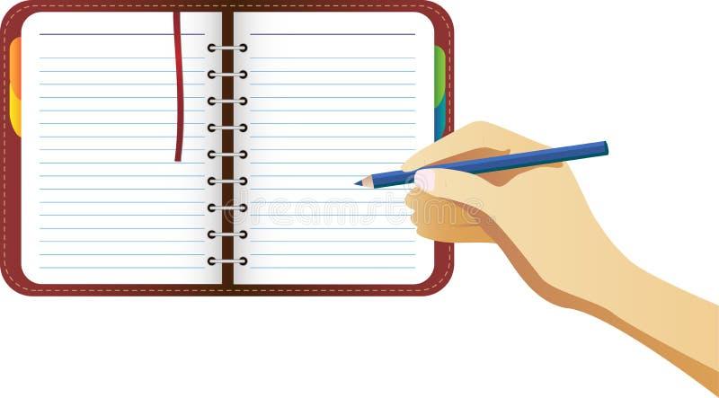 Escritura de la mano en organizador stock de ilustración