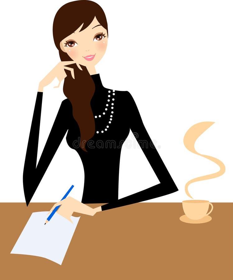 Escritura de la muchacha stock de ilustración