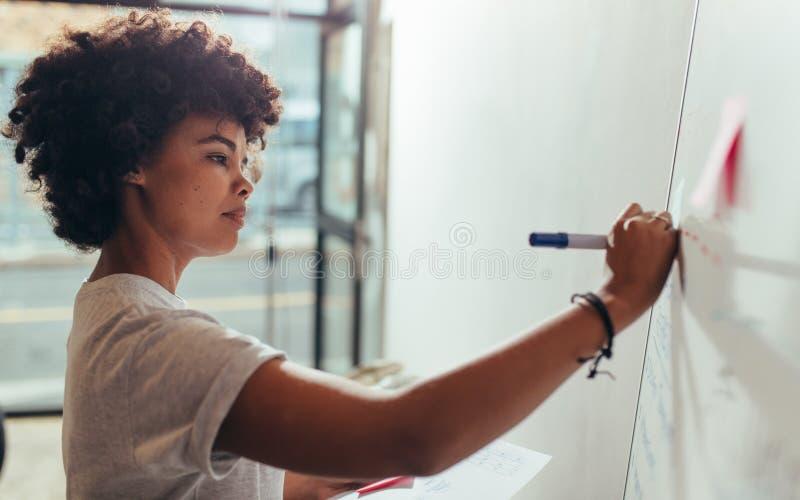 Escritura de la mujer en el tablero blanco durante una presentación fotos de archivo libres de regalías