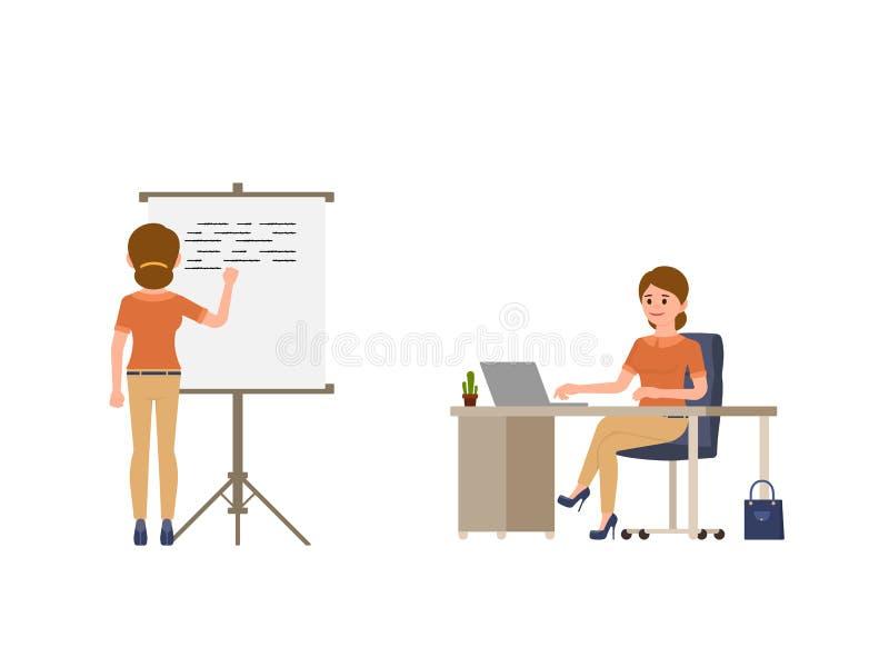 Escritura de la mujer joven en el whiteboard, sentada en el personaje de dibujos animados del escritorio de oficina Día laborable stock de ilustración