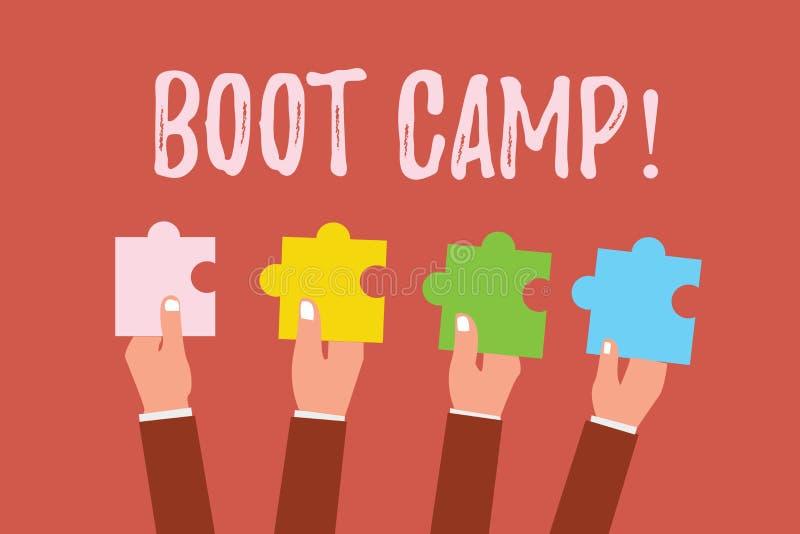 Escritura de la nota que muestra Boot Camp Foto del negocio que muestra el campo de entrenamiento militar para la disciplina dura stock de ilustración