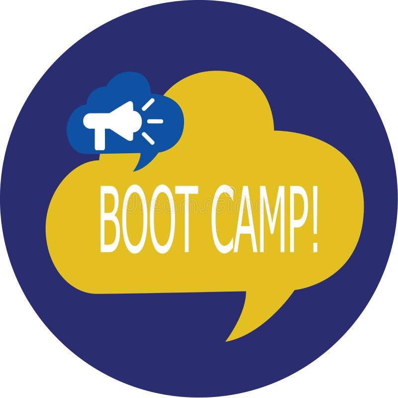 Escritura de la nota que muestra Boot Camp Foto del negocio que muestra el campo de entrenamiento militar para la disciplina dura ilustración del vector