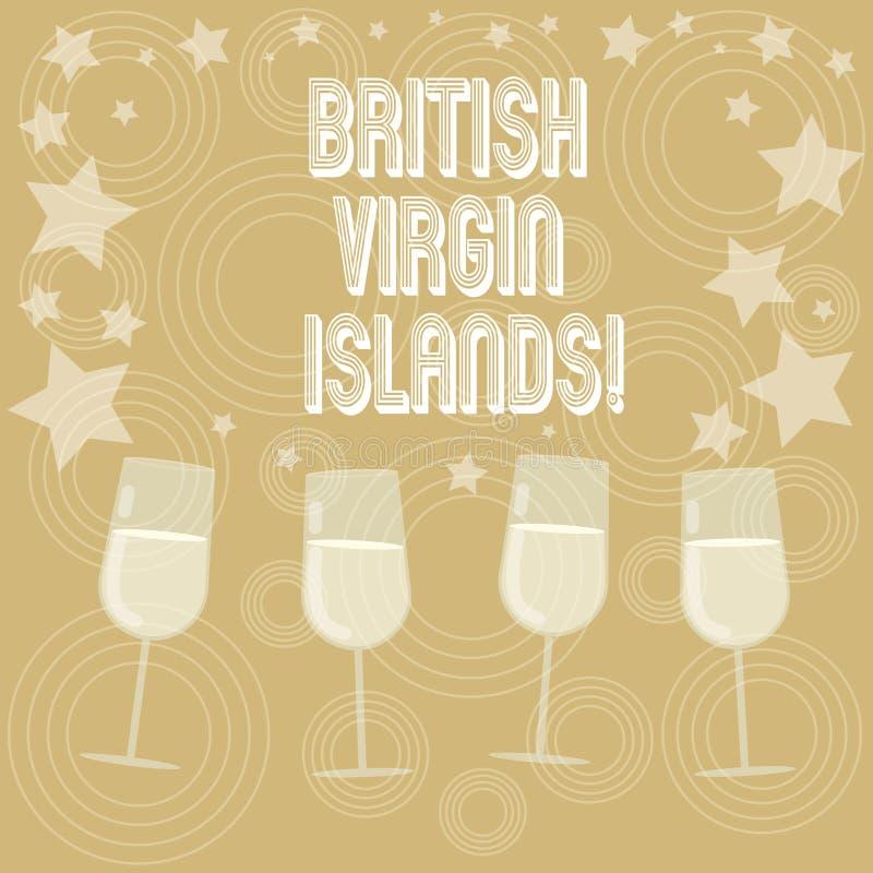 Escritura de la nota que muestra British Virgin Islands Foto del negocio que muestra el territorio de ultramar británico en el Ca ilustración del vector