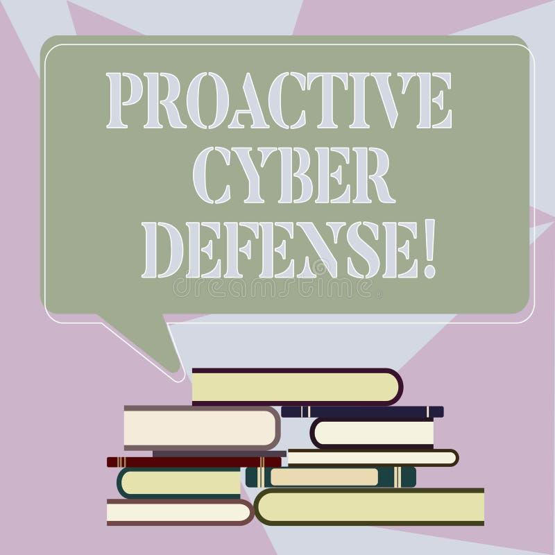 Escritura de la nota que muestra la defensa cibernética dinámica Anticipación de exhibición de la foto del negocio para oponerse  ilustración del vector