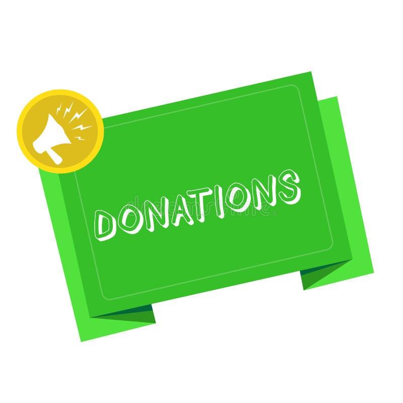 Escritura de la nota que muestra donaciones Foto del negocio que muestra algo que se da a la suma de la caridad especialmente de  imagenes de archivo