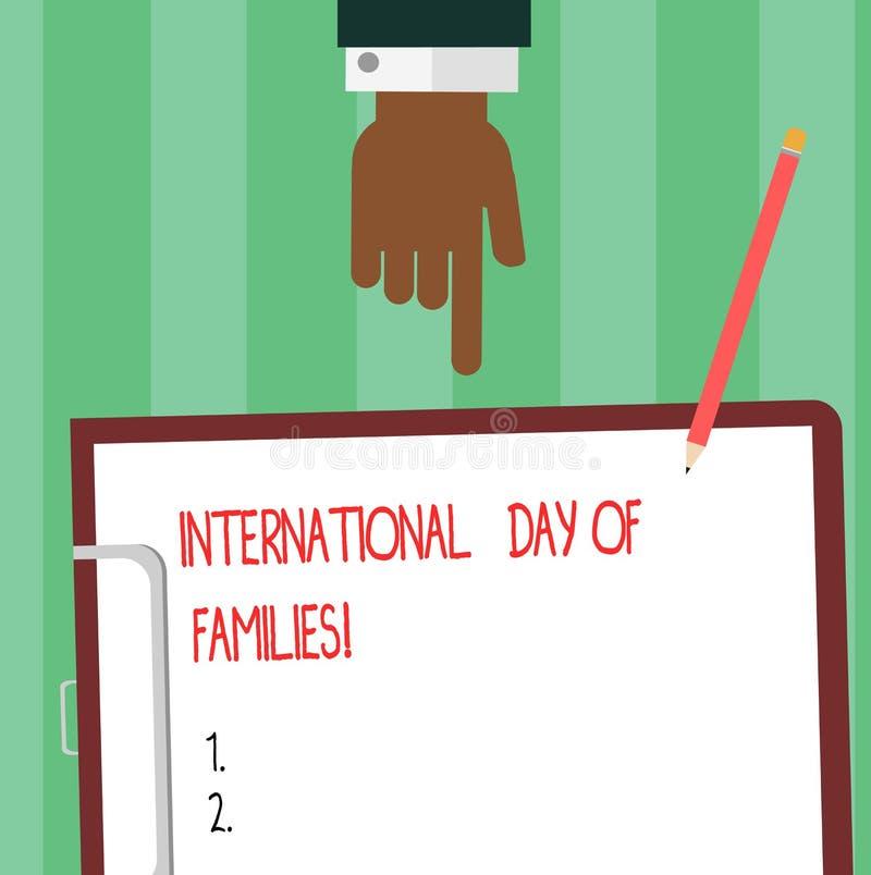 Escritura de la nota que muestra el día internacional de familias Análisis de exhibición de Hu de la celebración de la unidad del stock de ilustración