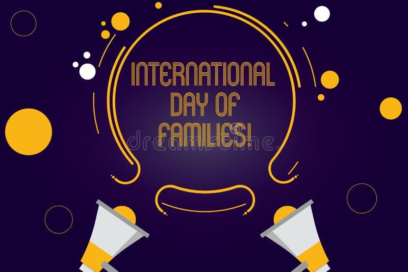 Escritura de la nota que muestra el día internacional de familias Celebración de exhibición dos de la unidad del tiempo de la fam stock de ilustración
