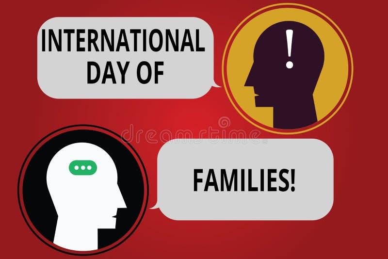 Escritura de la nota que muestra el día internacional de familias Celebración de exhibición de la unidad del tiempo de la familia stock de ilustración